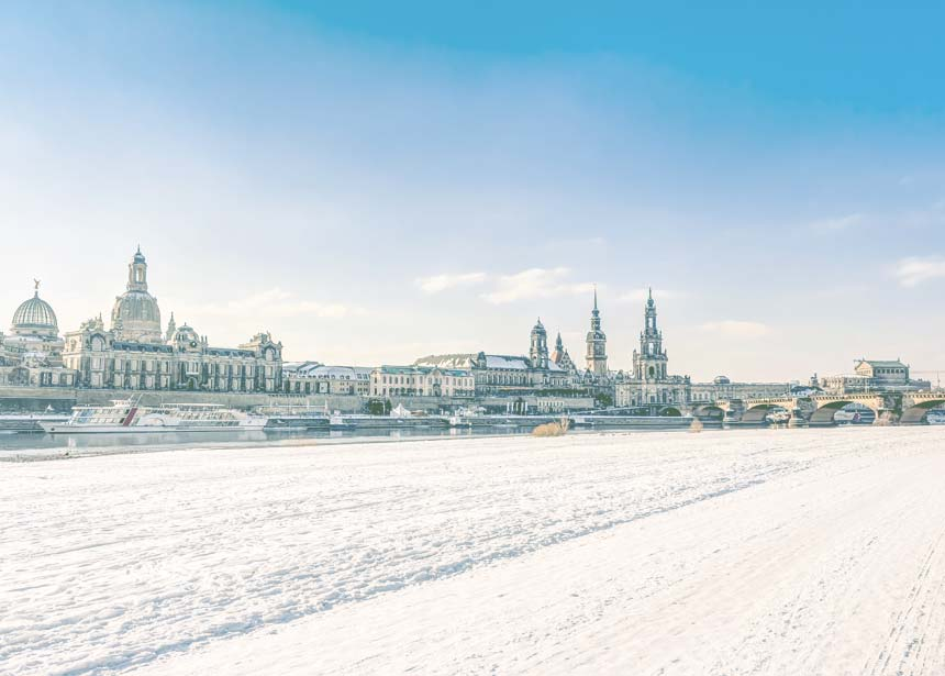 Firmenevent Dinner und Wein Dresden Panorama im Winter